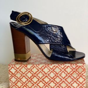 Chloe Blue Surf Crinkled Patent Leather Sixty Heel